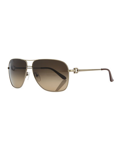 Navigator Metal Sunglasses, Brushed Gold