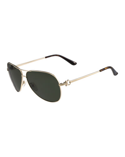 Metal Aviator Sunglasses with Gancini Temple, Shiny Gold