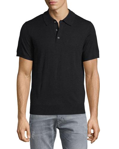 Short-Sleeve Cashmere-Silk Polo Shirt, Black