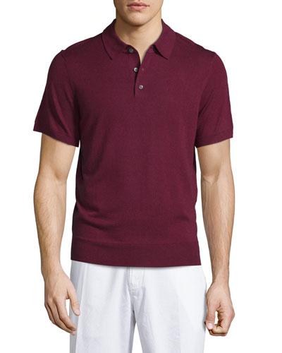 Short-Sleeve Cashmere-Silk Polo Shirt, Wine
