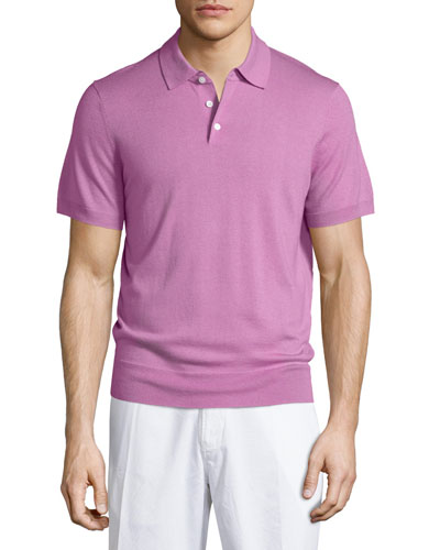 Short-Sleeve Cashmere-Blend Polo Shirt, Pink