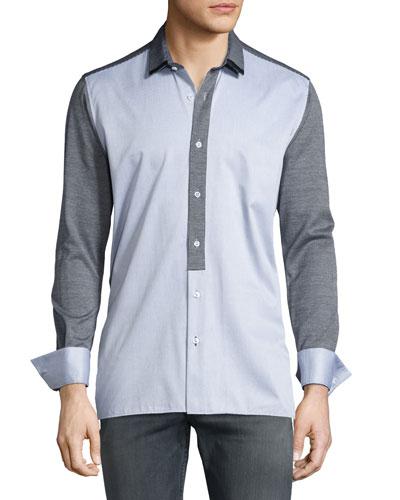 Colorblock Knit-Paneled Long-Sleeve Sport Shirt w/Leather Trim, Gray