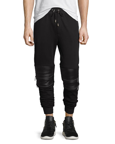 Moto Sweatpants w/Faux-Leather Panels, Black