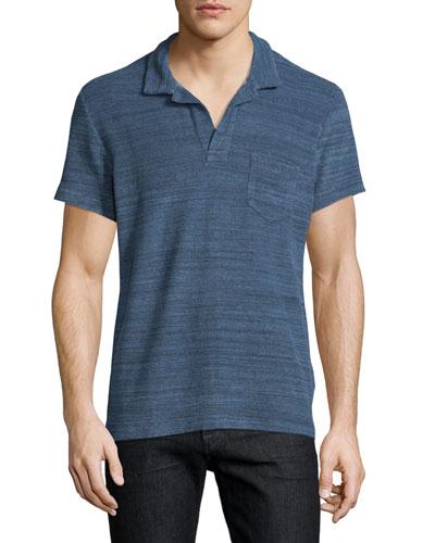 Terry Melange Short-Sleeve Polo Shirt, Navy