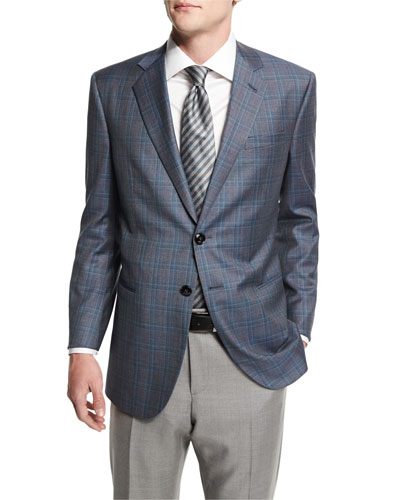 Taylor Plaid Two-Button Wool Jacket, Gray/Teal