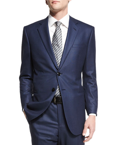 Taylor Birdseye Two-Piece Wool Suit, Navy