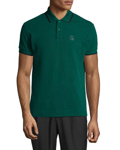 Short-Sleeve Polo Shirt w/Contrast Piping, Dark Viridian