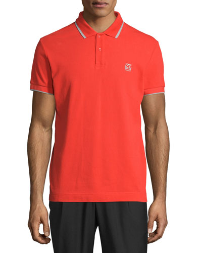 Short-Sleeve Polo Shirt w/Contrast Piping, Blaze Red