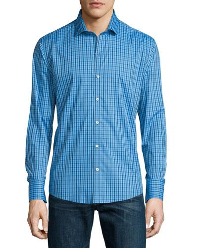 Long-Sleeve Checked Woven Sport Shirt, Blue