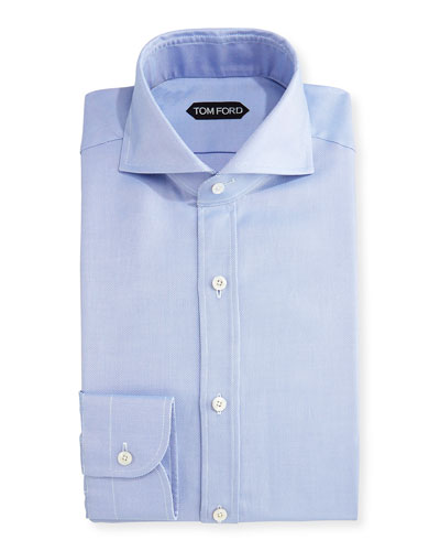 Tailored-Fit Textured Oxford Dress Shirt, Blue