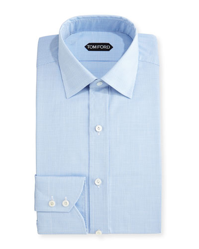 Slim-Fit Micro-Houndstooth Dress Shirt, Light Blue