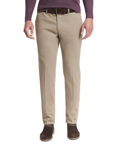 Soft Stretch-Cotton Slim-Fit Pants, Mud