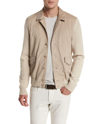 Summit Rock Cashmere & Suede Bomber Jacket, Natural Melange