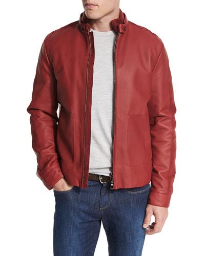 Leather Biker Jacket w/Suede Trim, Merlot