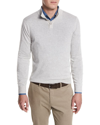 York Cashmere Pullover Sweater, Pearl/Plaster Melange