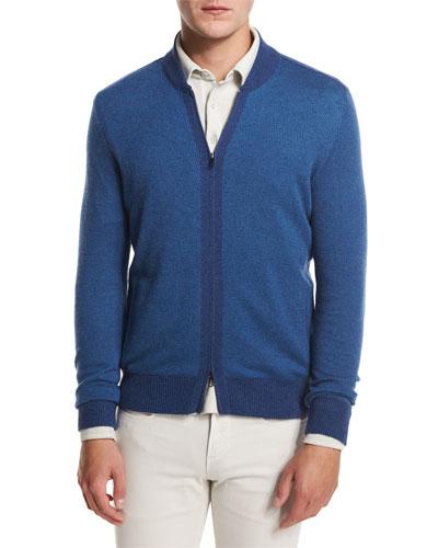 York Jacquard Zip-Front Cardigan, Ocean Melange/Saxony Blue