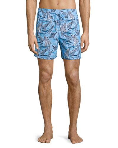 Moorea Sailboat-Print Swim Trunks, Blue