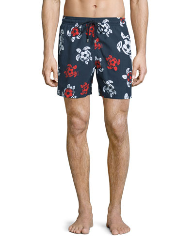 Moorea Soccer-Turtle Printed Swim Trunks, Navy