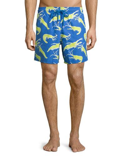 Moorea Shrimp-Print Swim Trunks