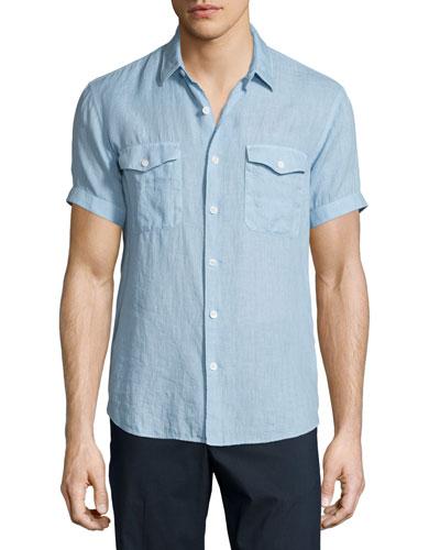 Short-Sleeve Linen Shirt, Fading