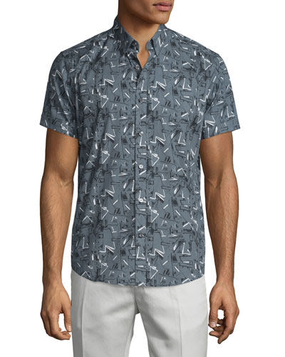 Coppolo Printed Short-Sleeve Shirt, Theorist Multi
