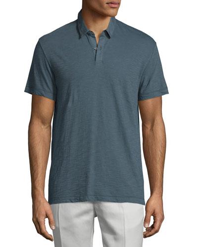 Dennison Short-Sleeve Slub Polo Shirt, Dark Theorist