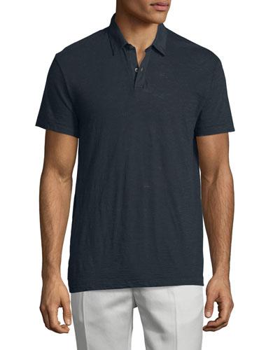 Dennison Short-Sleeve Slub Polo Shirt, Eclipse