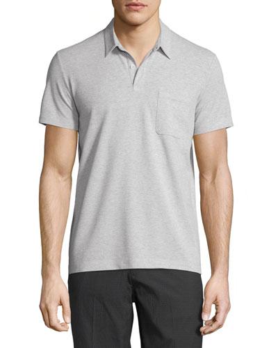 Millos Short-Sleeve Pique Polo Shirt, Light Heather
