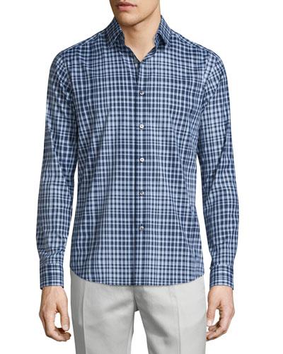 Sylvain Check Long-Sleeve Sport Shirt, Fading Multi