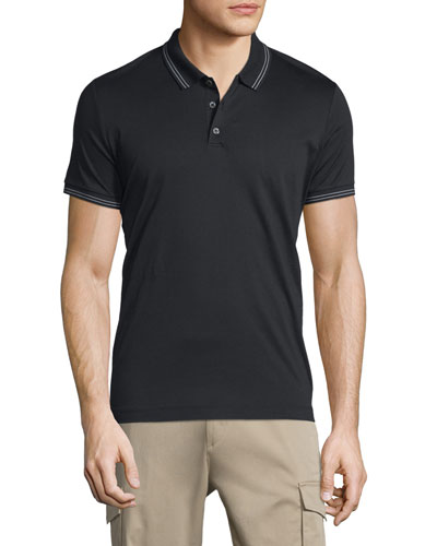 Boyd Tipped Short-Sleeve Polo Shirt, Black