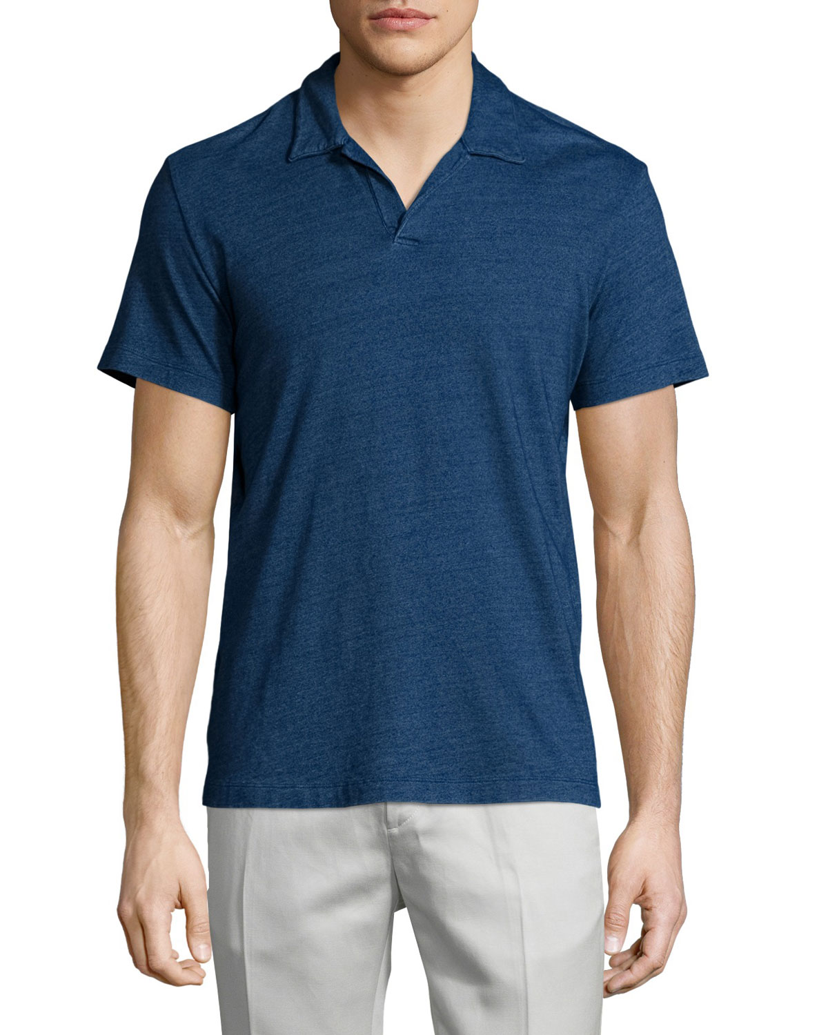 Willem Johnny-Collar Short-Sleeve Polo Shirt, Indigo