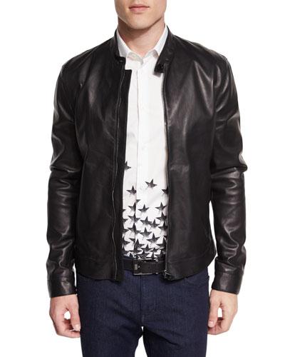 Basic Zip-Up Leather Jacket, Black