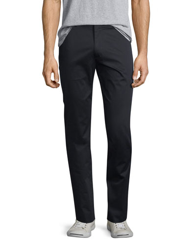 Flat-Front Stretch Sateen Pants, Navy