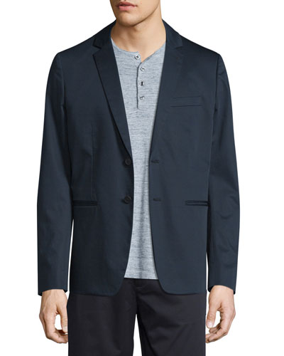 Unconstructed Two-Button Sateen Jacket, Navy