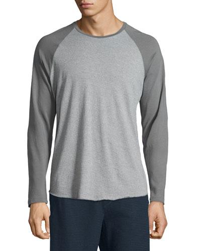 Colorblock Raglan-Sleeve Baseball Shirt, Smoked Gray