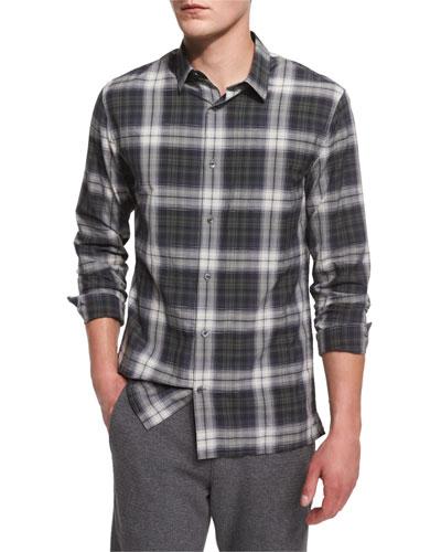Plaid Linen-Blend Sport Shirt, Black Deep Moss