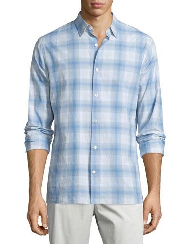 Plaid Linen-Blend Long-Sleeve Sport Shirt, White/Light Blue