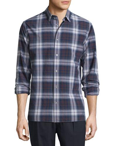 Plaid Linen-Blend Long-Sleeve Sport Shirt, Coastal/Claret