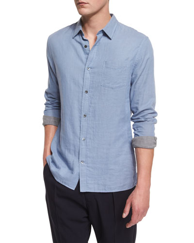 Double-Face Long-Sleeve Sport Shirt, Infinity Blue