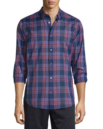 Manhattan Plaid Long-Sleeve Sport Shirt, Rhubarb Combo