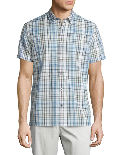 Melrose Plaid Short-Sleeve Shirt, White/Blue