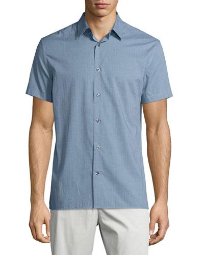 Micro-Check Print Short-Sleeve Shirt, Lucent Blue/Night Shadow