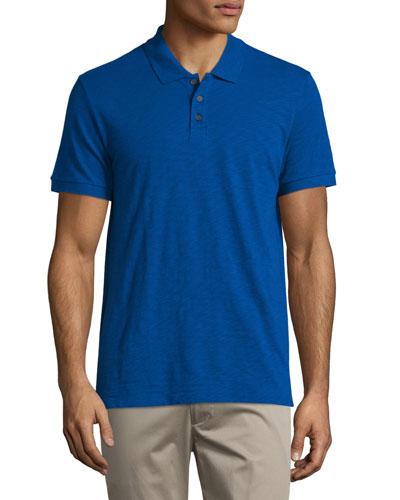 Short-Sleeve Slub Polo Shirt, Vibrant Blue