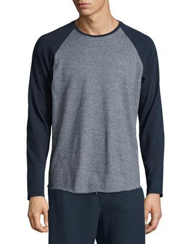 Colorblock Raglan-Sleeve Baseball Shirt, Coastal