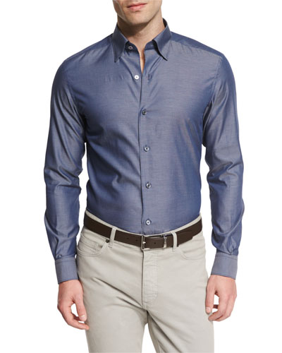Polished Solid Long-Sleeve Sport Shirt, Navy