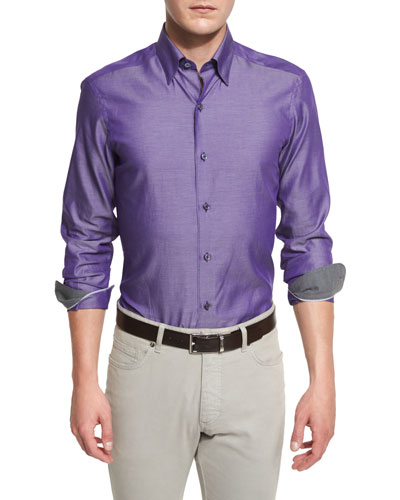 Polished Solid Long-Sleeve Sport Shirt, Purple