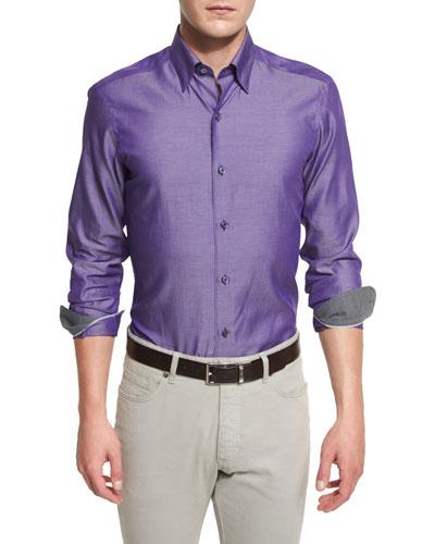 Polished Solid Long-Sleeve Sport Shirt, Purple