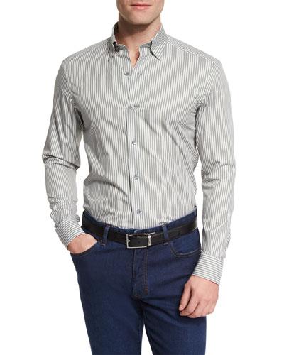 Melange Striped Long-Sleeve Sport Shirt, Green/White