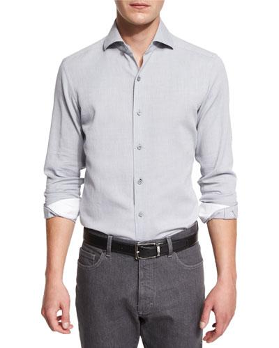 Mesh-Print Long-Sleeve Sport Shirt, Gray