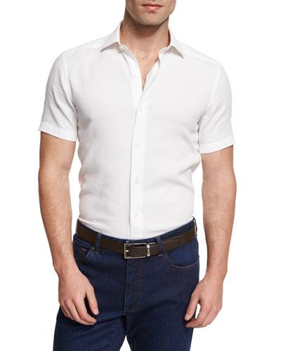 Solid Short-Sleeve Sport Shirt, White